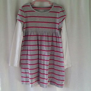 Circo knit dress M 7 8 Pullover Gray pink stripes